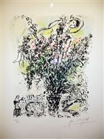 paris bouquet by marc chagall