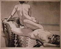 two nudes on old indian rug by philip pearlstein
