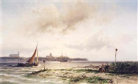 <i>shipping in an estuary</i> by johannes hermanus barend koekkoek
