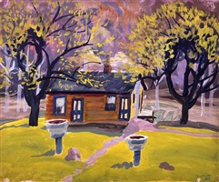 house in landscape by charles ephraim burchfield