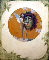 putto holding mask by jean-léon gérôme