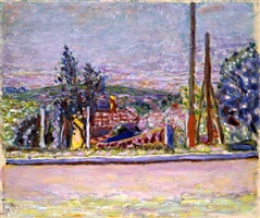 view from the artist's garden by pierre bonnard
