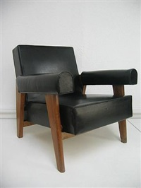 fauteuil low, black by pierre jeanneret