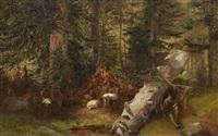 hirte mit ziegen im wald by eugène verboeckhoven & alexandre calame
