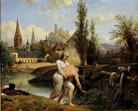 the duke of chartres saves the engineer siret from drowning in august of 1791 in vendôme by emile jean horace vernet