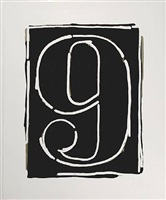 black numeral 9 by jasper johns