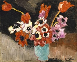 blue vase, anemones by louis valtat