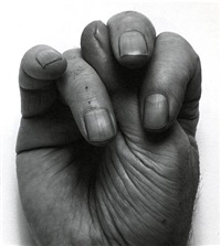 self portrait (sp 5 88)<br>front hand, thumb up middle by john coplans