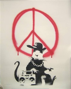 gangsta rat/ morons verso by banksy