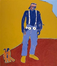 orange dog and friend by fritz scholder