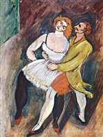 two dancers - russian ballet by max weber
