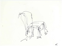 sketch of chair by frank gehry
