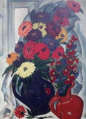 large still life of flowers by henri burkhard