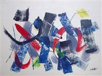 movement in blue-black-red, circa 1950's by john von wicht