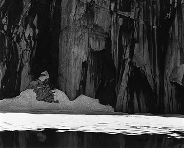 frozen lakes and cliffs, kaweah gap, sierra nevada, california by ansel adams