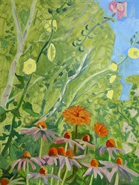 hollyhocks, dahlias, echinacea by lois dodd