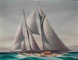 sailing yacht on an open sea, circa 1930's by sandor bernath