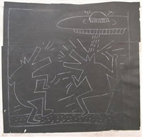 untitled (spaceship & 2 barking dogs) by keith haring