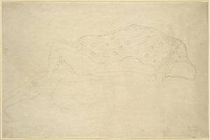 lovers, facing to the right by gustav klimt