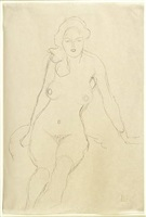 seated nude facing forward by gustav klimt