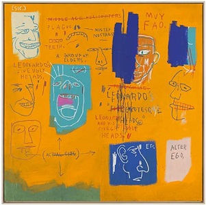 untitled (leonardo and his five grotesque heads) by jean-michel basquiat
