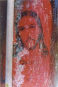 untitled (red jesus in cemetery, arizona) by william eggleston