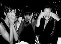 linda evangelista, naomi campbell, christy turlington,speaking, hearing and seeing no evil, fashion group party, plaza hotel, nyc by roxanne lowit