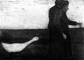 woman with goose by paula modersohn-becker