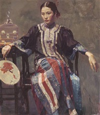 seated beauty with fan by chen yifei