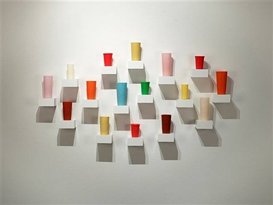 untitled (16 tumblers in an elliptical arrangement #8) by george stoll