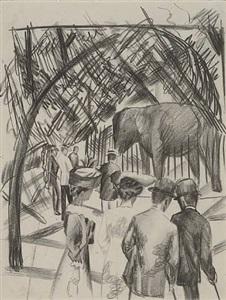 beim elefanten (visiting the elephants) by august macke