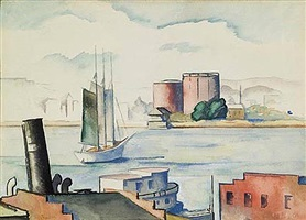 harbor scene, norfolk by thomas hart benton