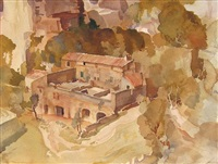 a farm at les baux, provence by william russell flint