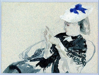 a seated young woman by james jacques joseph tissot