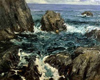 sea and cliffs (maine coast) by robert henri