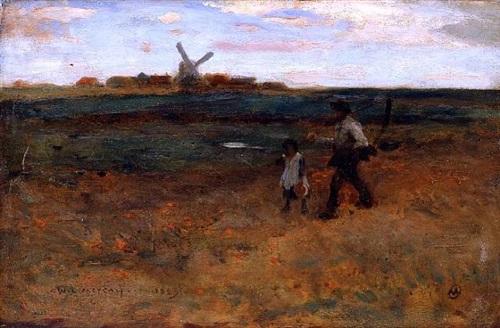 leaving the fields by willard leroy metcalf