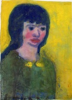 portrait of a young woman with dark hair by emil nolde