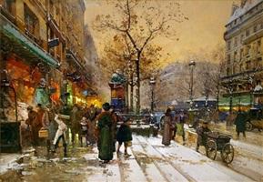 bustling parisian street scene, paris by eugène galien-laloue
