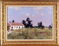 summer landscape with a white house (sold) by stepan feodorovich kolesnikov