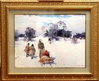 winter journey (sold) by stepan feodorovich kolesnikov