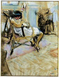 a young girl seated in a chair in the studio by edouard vuillard