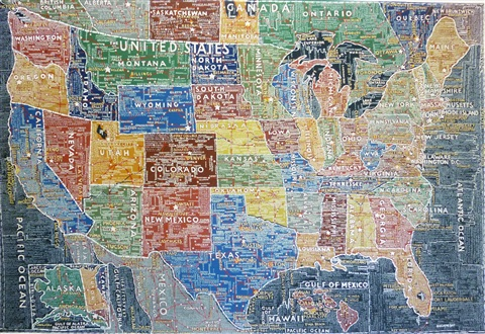 Map of usa von Paula Scher auf artnet
