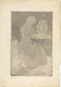 at the dressing table by mary cassatt