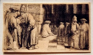 jews in the synagogue by rembrandt van rijn