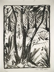 waldlandschaft mit kleinen figuren (2) by otto mueller