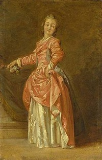 a lady in a red dress in an interior by jean-baptiste le prince
