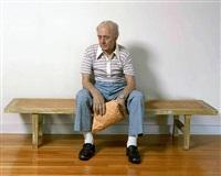 man on a bench by duane hanson