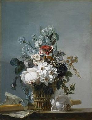 bouquet de fleurs, flûte et partition sur un entablement by jean-jacques bachelier