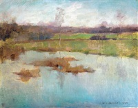pond giverny by willard leroy metcalf