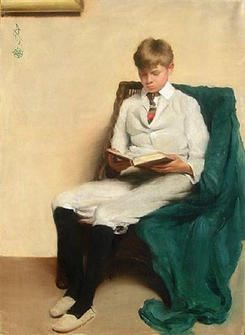 portrait of a boy reading by edmund charles tarbell